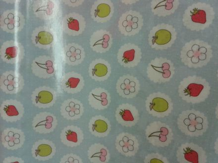 Summer Fruits on Baby Blue PVC Oilcloth by Ashley Wilde